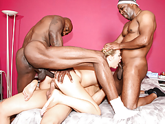 Slutty Shani Reid is gang gangbanged by three largest brown cocks.