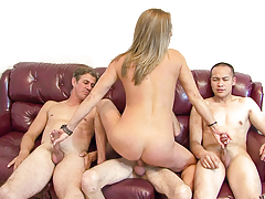 Horny blond milf getting sandwich between a gang of rough cocks!